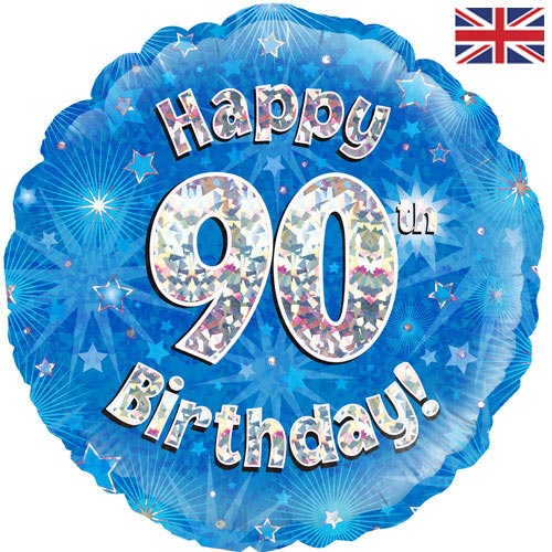 18 Inch Happy 90th Birthday Blue Foil Balloon 1
