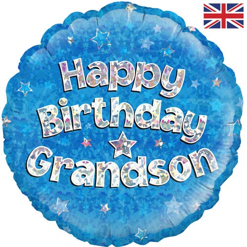 18 Inch Happy Birthday Grandson Round Foil Balloon 1 Images 2 229165P Opt 500