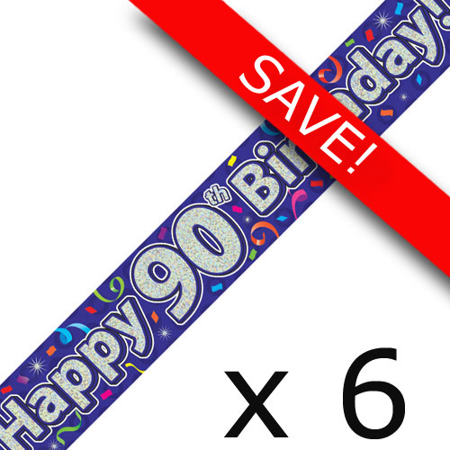 Pack Of 6 90th Birthday Streamers Banners