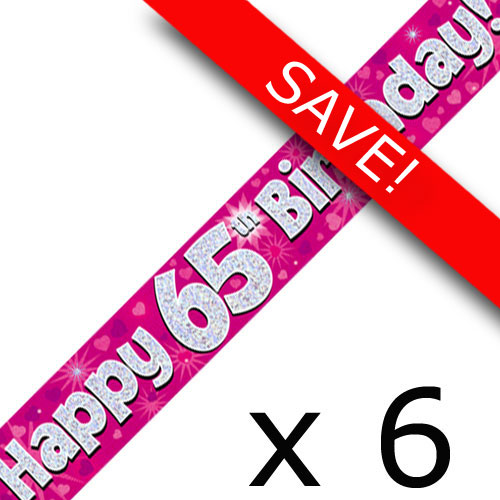 Pack Of 6 65th Birthday Pink Banners