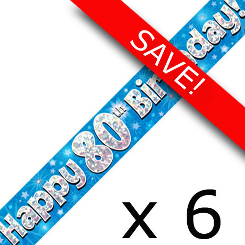 Pack Of 6 80th Birthday Blue Banners