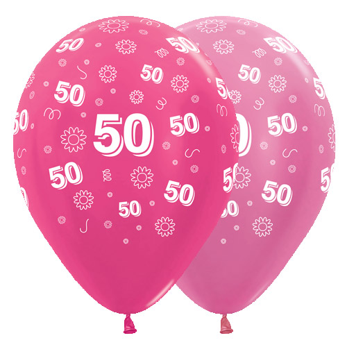 12 Inch 50th Birthday Flowers Pink Assorted Latex Balloons 25