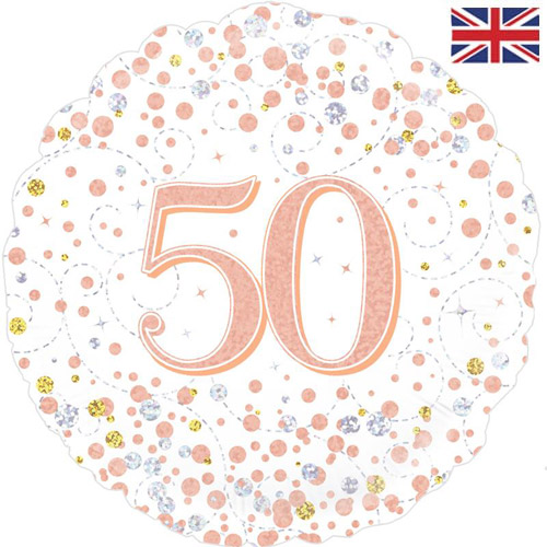 18 Inch 50th Birthday White Rose Gold Fizz Foil Balloon 1