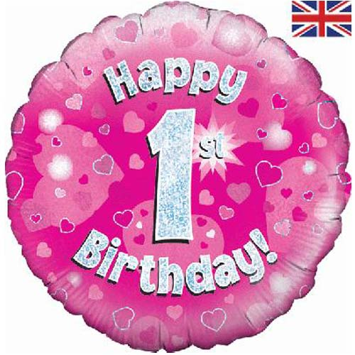 18 Inch Happy 1st Birthday Pink Foil Balloons, Made In The