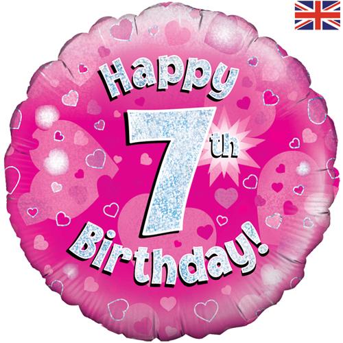 18 Inch Happy 7th Birthday Pink Foil Balloon