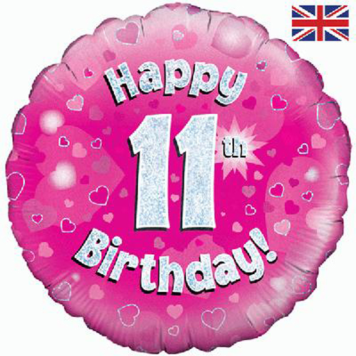 18 Inch Happy 11th Birthday Pink Foil Balloon