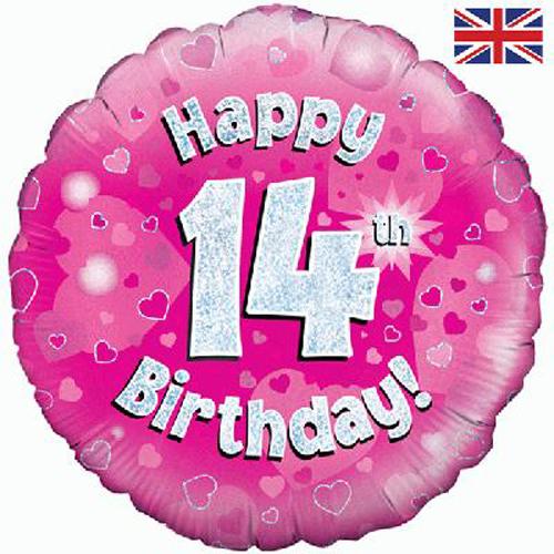 18 inch happy 14th birthday pink foil balloon balloon market