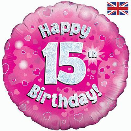 18 Inch Happy 15th Birthday Pink Foil Balloon Balloon Market