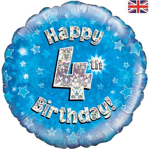 18 Inch Happy 4th Birthday Blue Foil Balloon 1