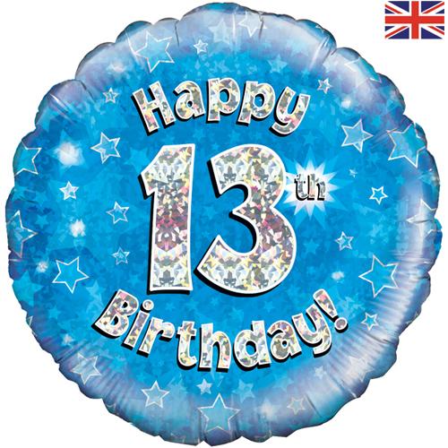 18 Inch Happy 13th Birthday Blue Foil Balloon 1