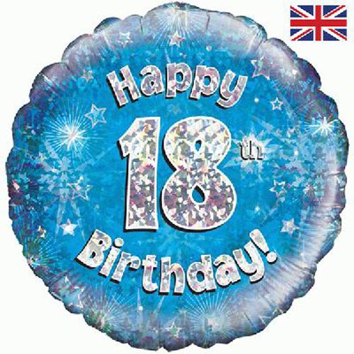18 Inch Happy 18th Birthday Blue Foil Balloon