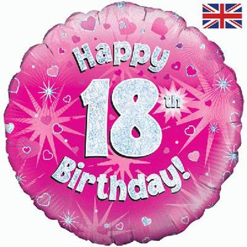Pink Happy 18th Birthday Balloon: 18 Inch Happy 18th Birthday Pink Foil Balloon