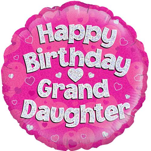 18 Happy Birthday Granddaughter Round Foil Balloon (1) 18 ...
