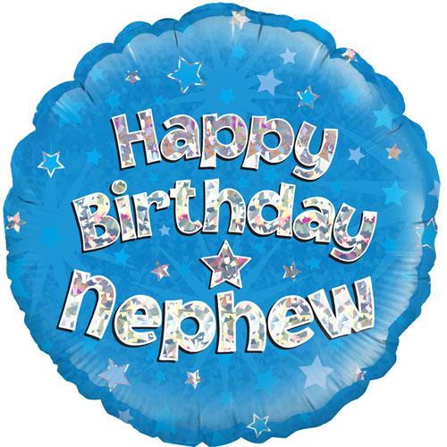 18 Inch Happy Birthday Nephew Foil Balloon (1) 8 Inch