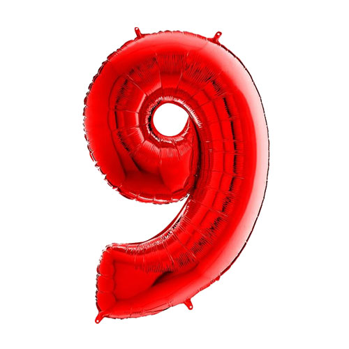 26 Inch Red Number 9 Foil Balloon  1