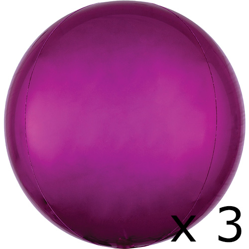 Pack Of 3 16 Inch Orbz Bright Pink Foil Balloons  3