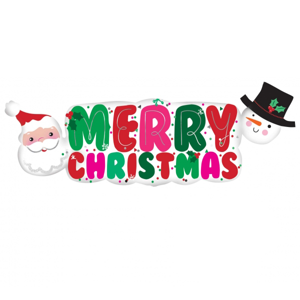Santa & Snowman 'Merry Christmas' Banner Supershape (1)