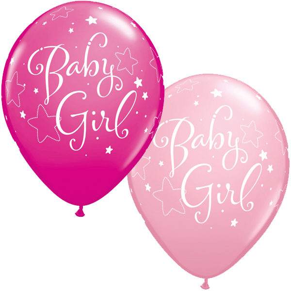 11 Inch Assorted Baby Girl Stars Latex Balloons