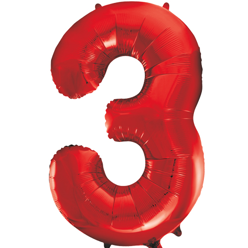 "BIG 34/"" RED FOIL NUMBER BALLOONS PARTY DECORATION"