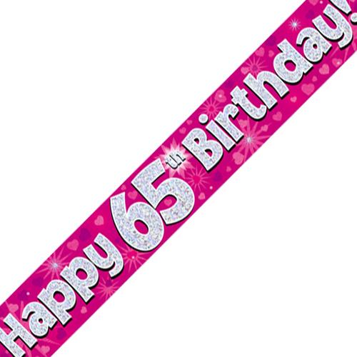65th Birthday Pink Banner