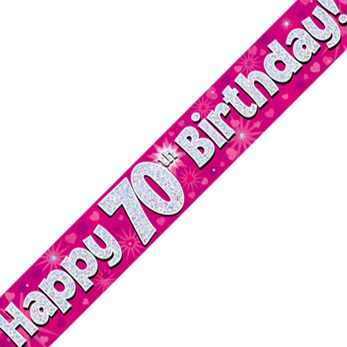 70th Birthday Pink Banner