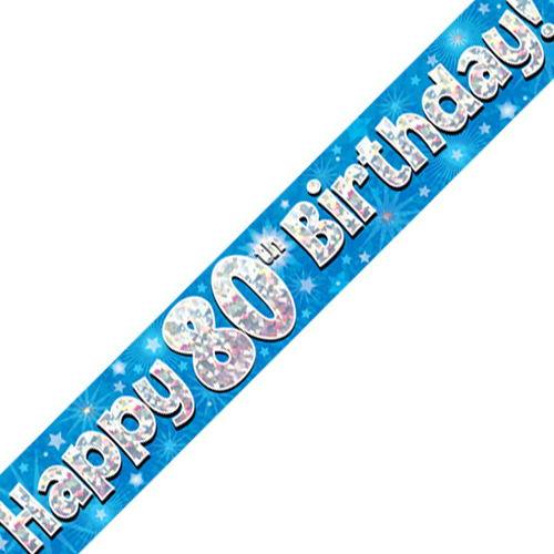 80th Birthday Blue Banner