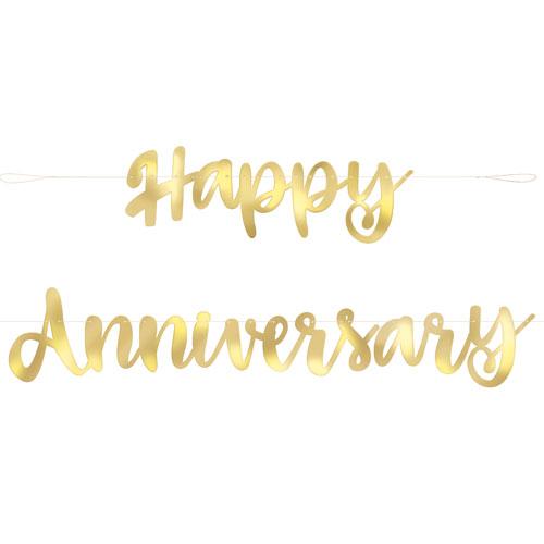 happy anniversary gold foil script banner 1