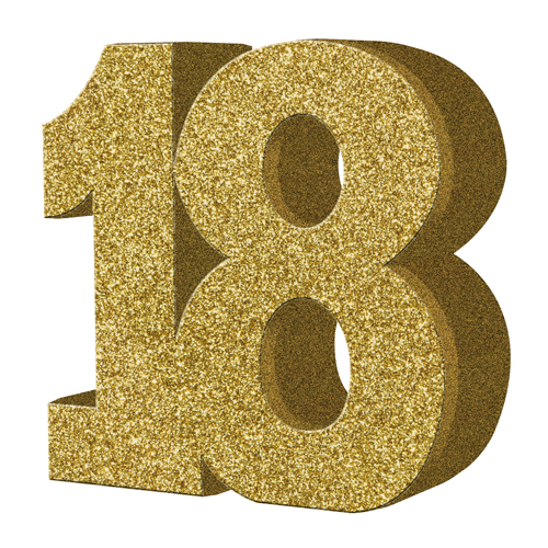 Gold Glitter Number Table Decoration Age 18 Gold Glitter