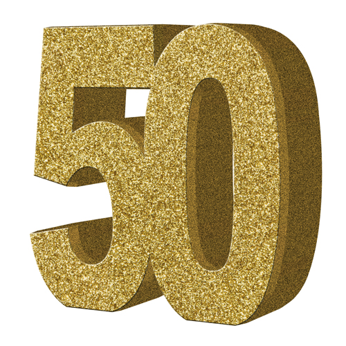 Gold Glitter Number Table Decoration Age 50 Gold Glitter