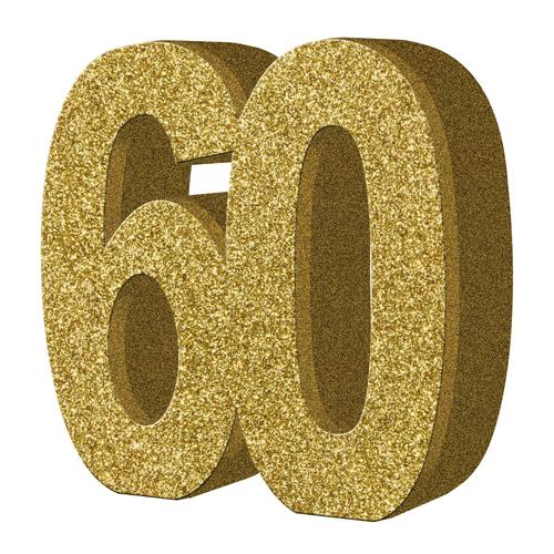 Number 60 Gold Glitter Number Table Decoration 1 Gold