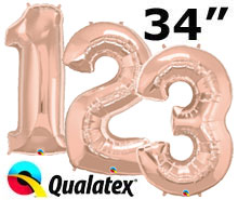 "34"" Rose Gold Numbers Qualatex"