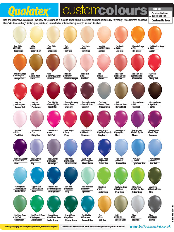 Custom Colour Chart Wholesale Balloons And Party Supplies Helium