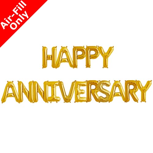 Happy Anniversary 16 Inch Gold Foil Letter Balloon Pack